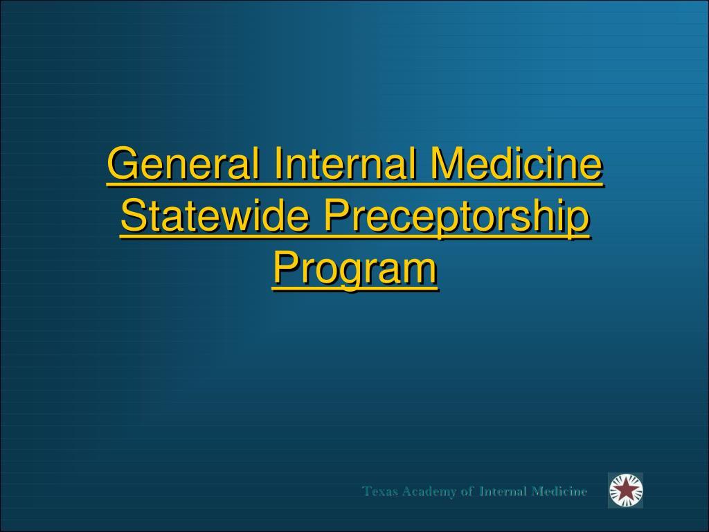 general internal medicine statewide preceptorship program l.