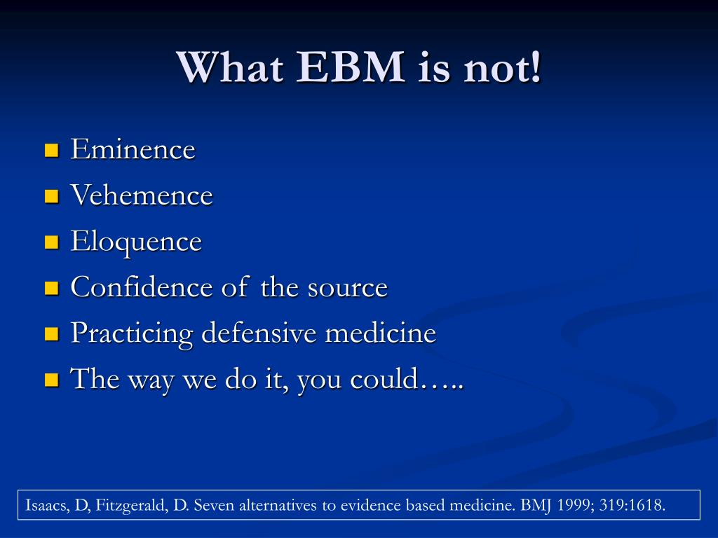 What EBM is not!