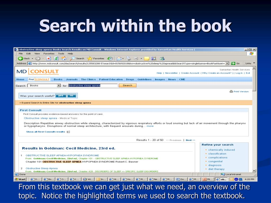 Search within the book