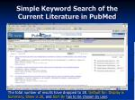 simple keyword search of the current literature in pubmed17
