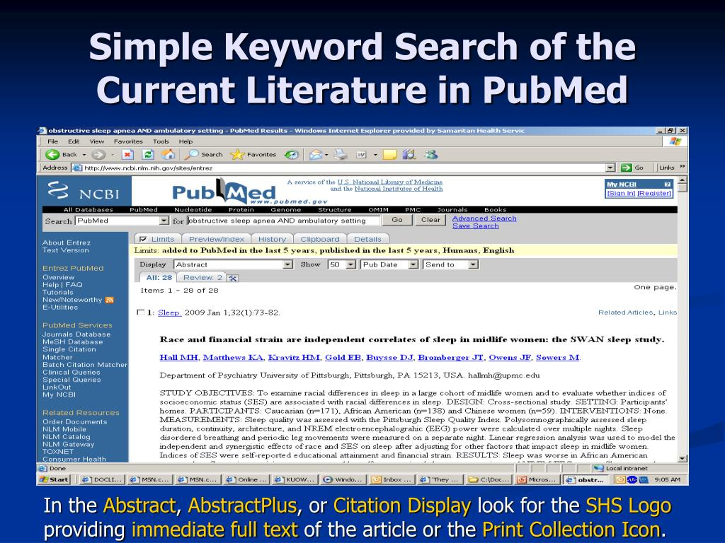 Simple Keyword Search of the Current Literature in PubMed