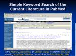 simple keyword search of the current literature in pubmed21