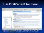 use firstconsult for more9