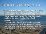 process of developing the tool