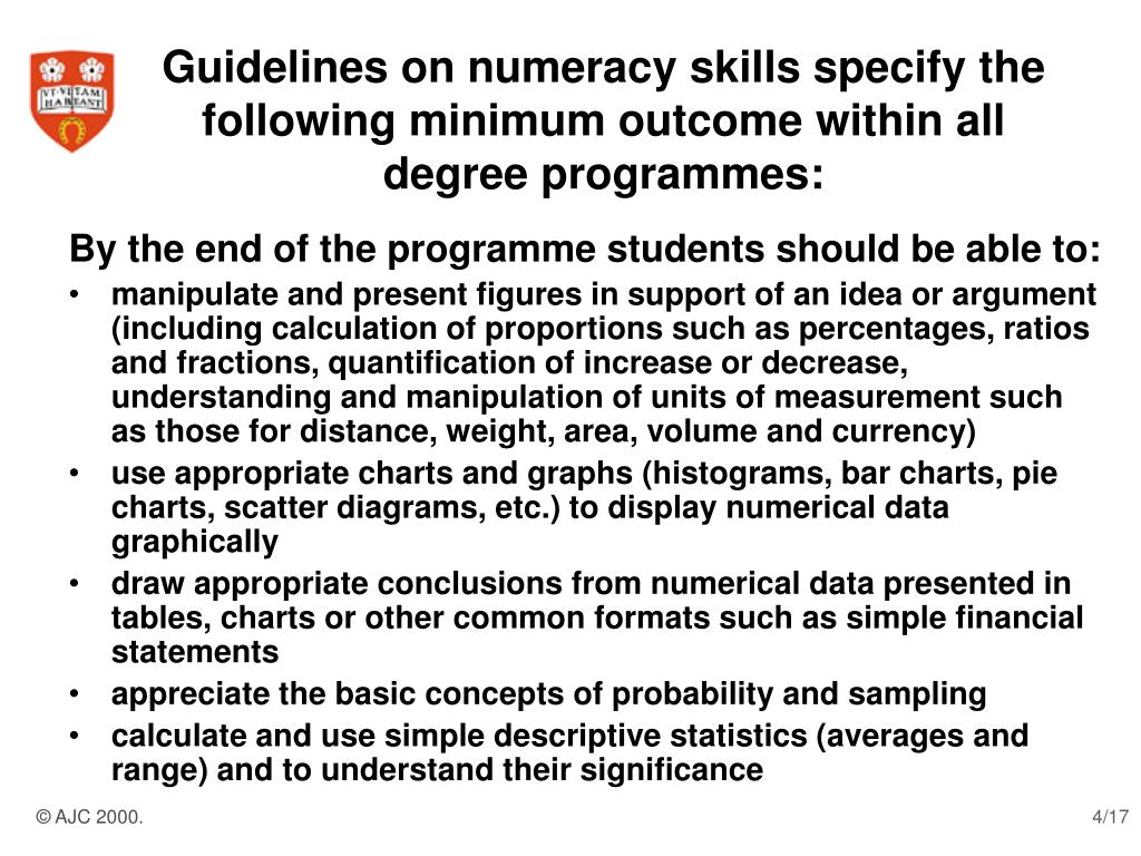 Guidelines on numeracy skills specify the following minimum outcome within all degree programmes: