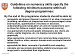 guidelines on numeracy skills specify the following minimum outcome within all degree programmes