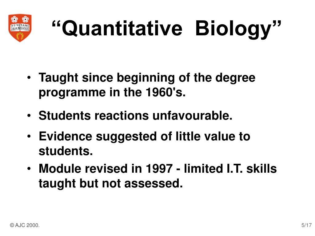 """""""Quantitative  Biology"""""""
