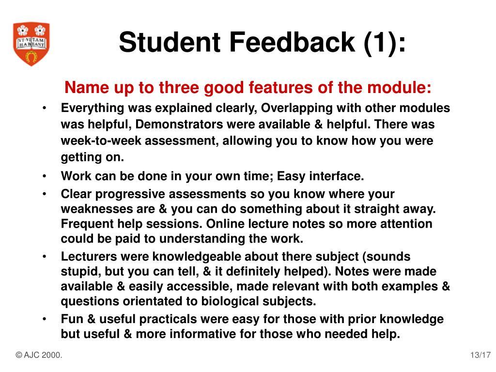 Student Feedback (1):