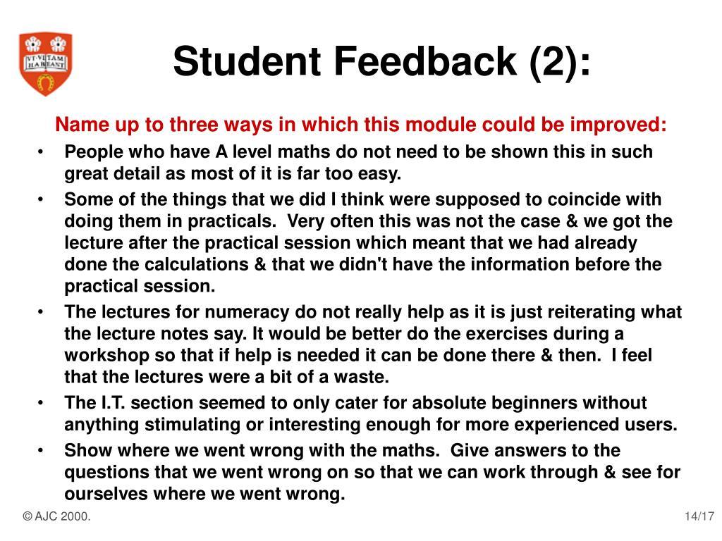Student Feedback (2):