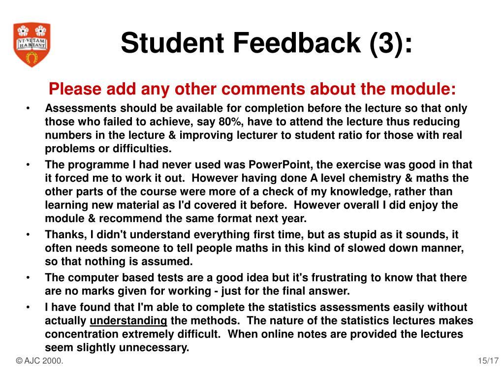 Student Feedback (3):
