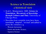 science in translation a historical view