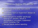 proficiency testing pt don ts