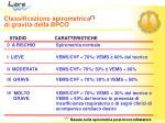 classificazione spirometrica di gravit della bpco