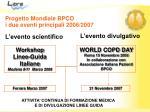 progetto mondiale bpco i due eventi principali 2006 2007