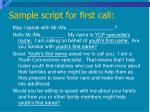 sample script for first call
