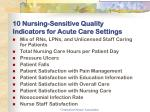 10 nursing sensitive quality indicators for acute care settings