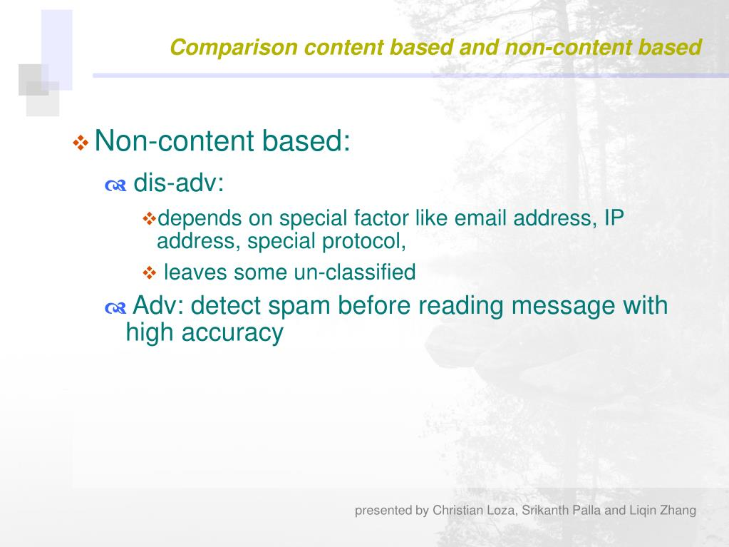 Comparison content based and non-content based