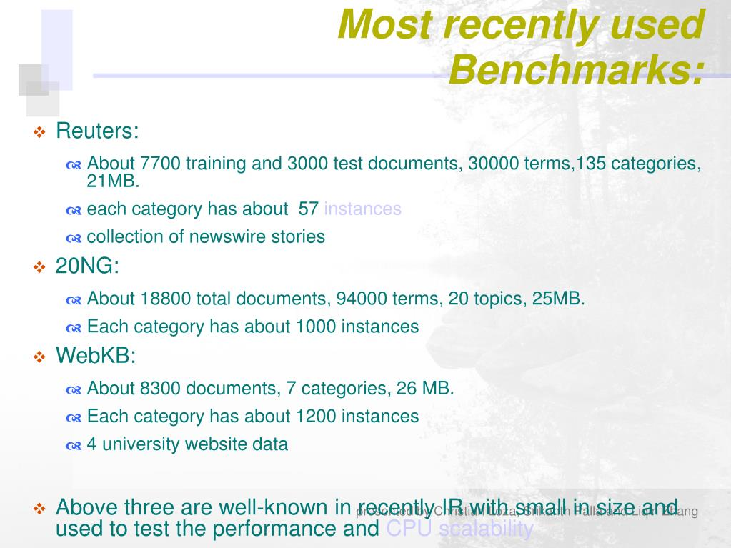 Most recently used Benchmarks: