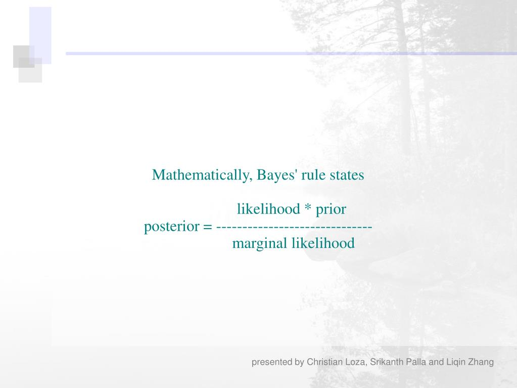 Mathematically, Bayes' rule states