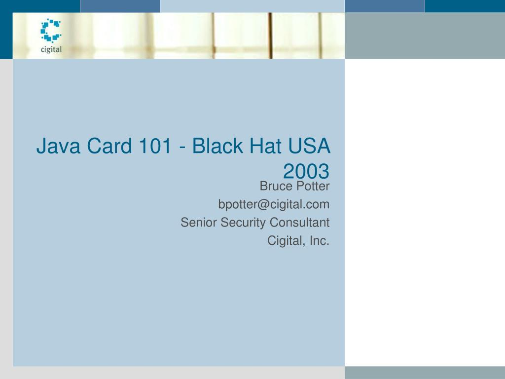 java card 101 black hat usa 2003 l.