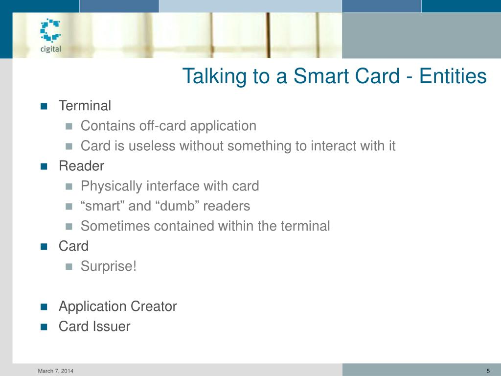 Talking to a Smart Card - Entities