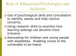 role of educational psychologists and inclusion17