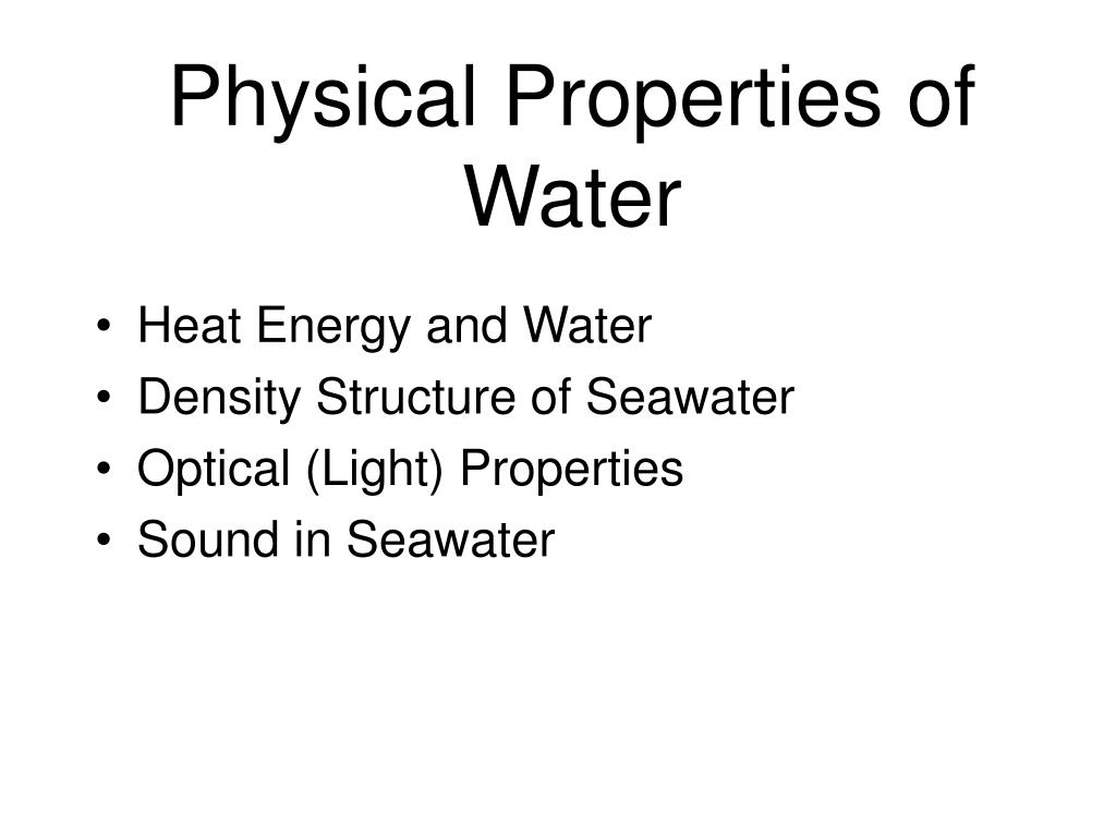 physical properties of water l.