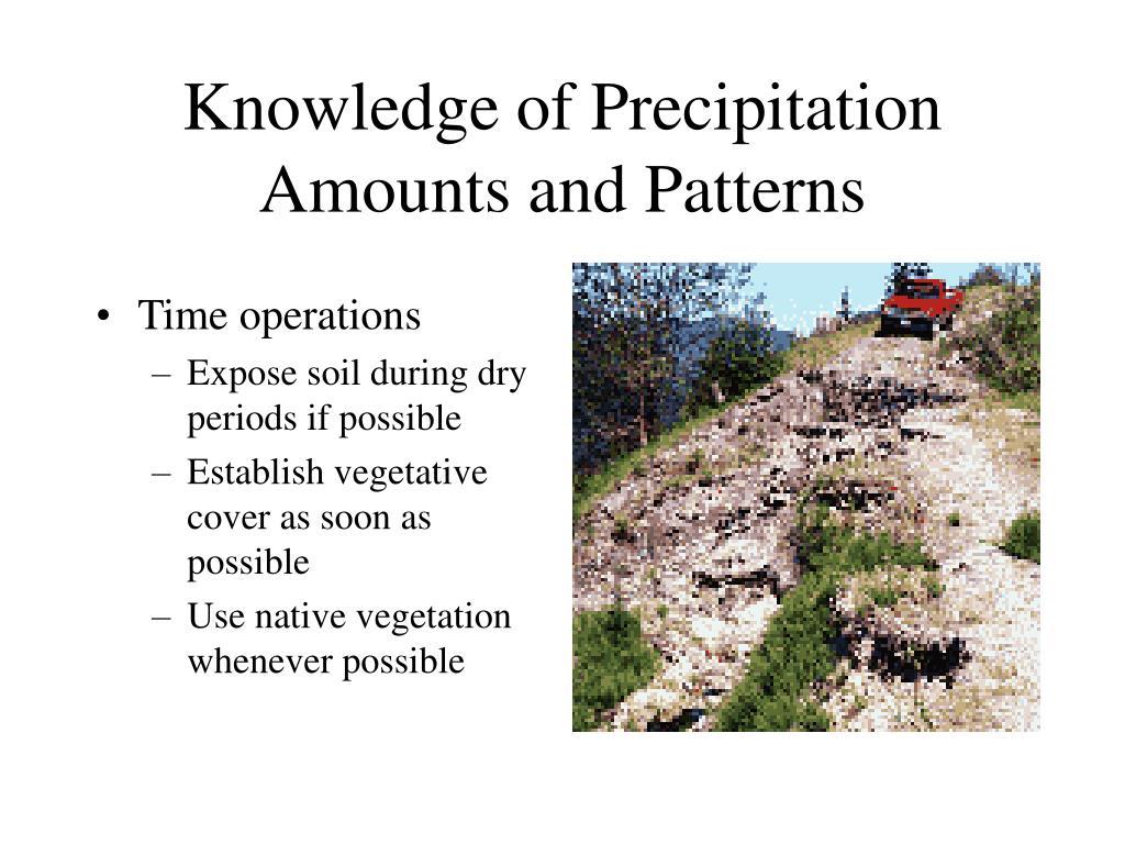 Knowledge of Precipitation Amounts and Patterns
