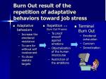 burn out result of the repetition of adaptative behaviors toward job stress