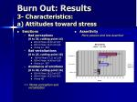 burn out results 3 characteristics a attitudes toward stress18