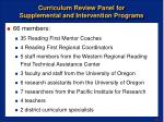 curriculum review panel for supplemental and intervention programs