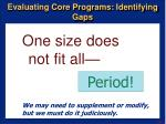 evaluating core programs identifying gaps