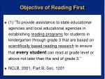 objective of reading first
