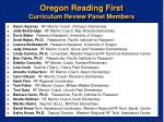 oregon reading first curriculum review panel members
