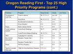 oregon reading first top 25 high priority programs cont