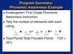 program summary phonemic awareness example