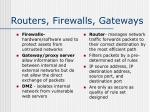 routers firewalls gateways