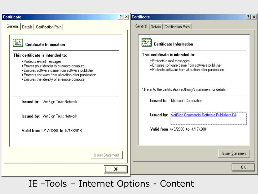 IE –Tools – Internet Options - Content