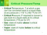 critical pressure temp