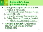 poiseuille s law laminar flow