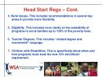 head start regs cont
