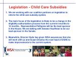 legislation child care subsidies