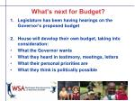 what s next for budget