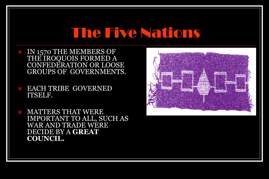 IN 1570 THE MEMBERS OF THE IROQUOIS FORMED A CONFEDERATION OR LOOSE GROUPS OF  GOVERNMENTS.