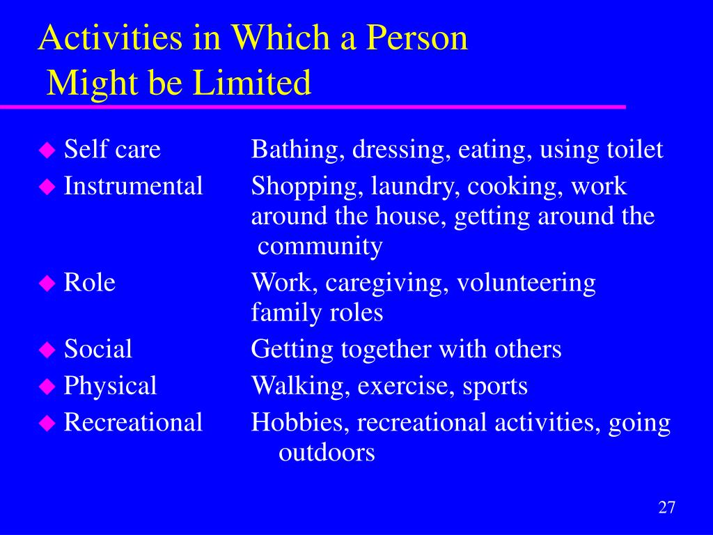 Activities in Which a Person