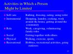 activities in which a person might be limited