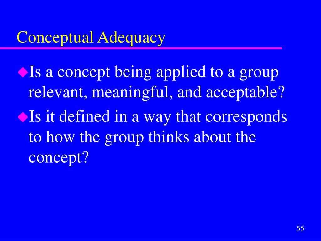 Conceptual Adequacy