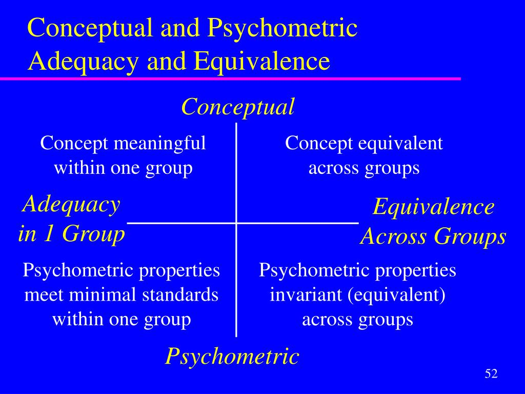 Conceptual and Psychometric Adequacy and Equivalence