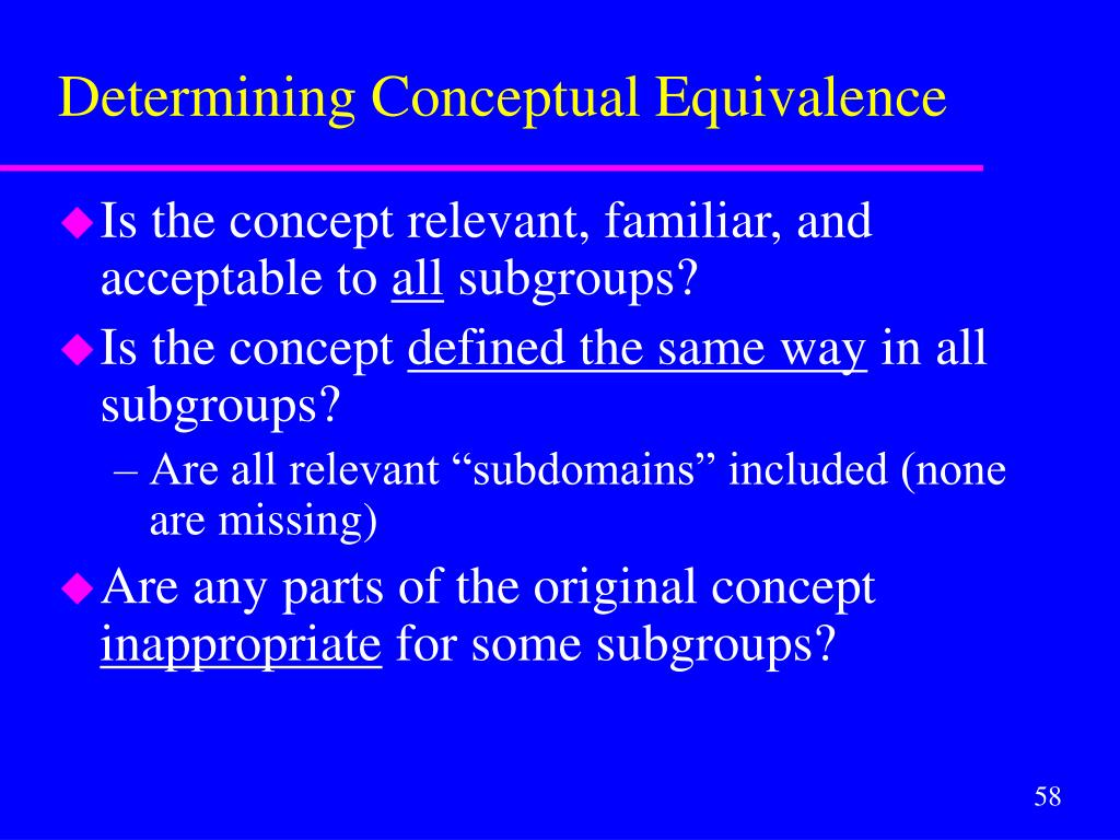 Determining Conceptual Equivalence
