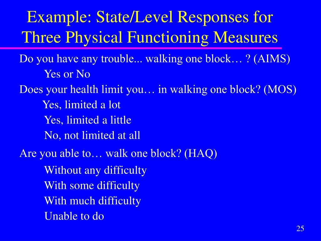 Example: State/Level Responses for Three Physical Functioning Measures